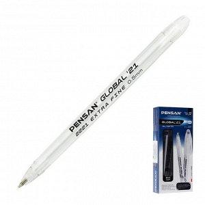 """Ручка шариковая масляная Pensan """"Global-21"""", чернила черные, корпус прозрачный, узел 0,5 мм, линия письма 0,3 мм"""