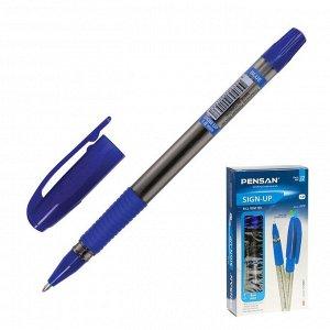 """Ручка шариковая масляная Pensan """"Sign-Up"""", чернила синие, 1 мм, линия письма 0,8 мм, резиновый держатель"""