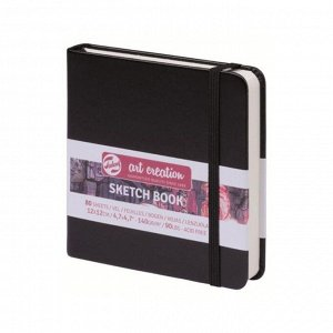 Блокнот для рисунков квадратный 120 х 120, 140 г/м? Royal Talens, 80 листов Art Creation, твёрдая обложка, чёрный