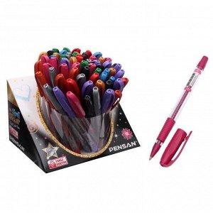 """Ручка гелевая Pensan """"Glitter Gel"""", чернила с блестками, микс, узел 1 мм, линия письма 0,5 мм, резиновый держатель, дисплей"""
