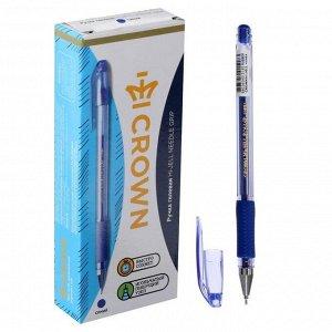 Ручка гелевая стандарт резиновый упор Crown HJR-500RNB синяя, узел-игла 0.7мм