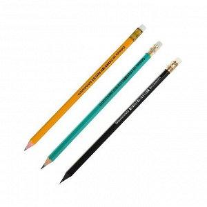 Карандаш чернографитный Calligrata, набор 3 шт., НВ, с резинкой, пластиковый, корпус микс