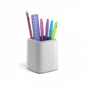 Набор настольный канцелярский 6 предметов ErichKrause Forte, Pastel, белый с фиолетовой вставкой