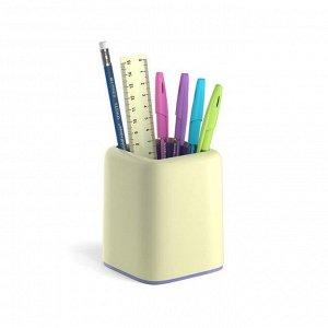 Набор настольный канцелярский 6 предметов ErichKrause Forte, Pastel, желтый с фиолетовой вставкой