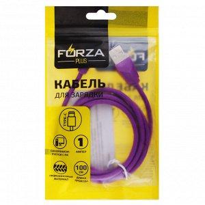 FORZA Кабель для зарядки Комфорт Type-C, 1м, 1А, PVC, прорезиненный, 5 цветов, пакет