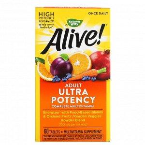 Nature's Way, Alive! суперэффективные, полноценные мультивитамины для взрослых, 60 таблеток