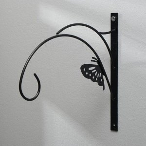 Кронштейн для кашпо, 30 см, металл, чёрный, «Бабочка»