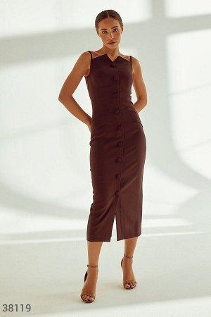 Шоколадное платье-футляр