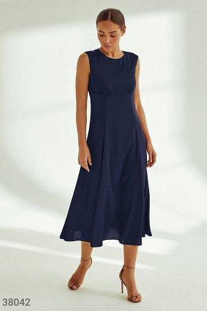 Шелковое платье-миди синего цвета