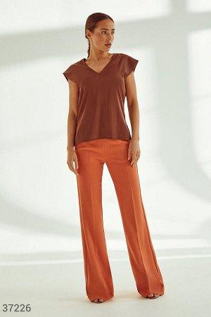 Терракотовые брюки с широким поясом