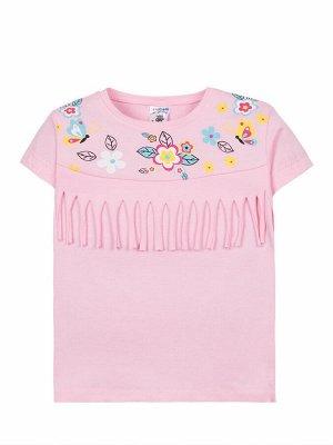 """Футболки для девочек """"Pink flowers"""", цвет Ярко-розовый"""