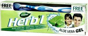 Зубная паста (гель) c алое вера DABUR HERB'L Toothpaste ALOE VERA (антибактериальная, от зубного налета) with Toothbrush  + зубн