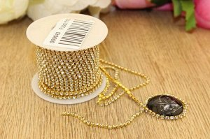 Стразы цепочкой (разм.SS8) золото с прозрачными камнями. Цена за 1 м.