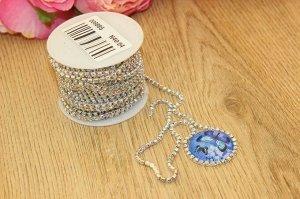 Стразы цепочкой (разм.SS10) серебро с полупрозрачными разноцветными камнями Цена за 1м.
