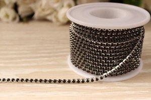 Бусины под жемчуг цепочкой (разм.SS10) серебро с чёрными бусинами. Цена за 50 см.