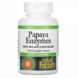 Natural Factors, ферменты папайи с амилазой и бромелаином, 120жевательных таблеток