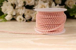 Бусины под жемчуг цепочкой (разм.SS8) серебро с розовыми бусинами. Цена за 50 см.