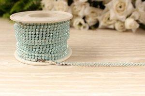 Бусины под жемчуг цепочкой (разм.SS8) серебро с голубыми бусинами. Цена за 50 см.