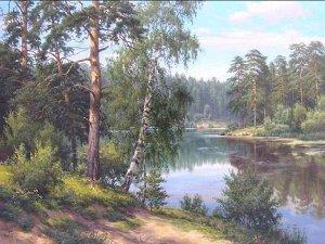 Алмазная живопись - мозаика У реки