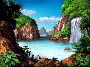Алмазная живопись - мозаика Озеро с водопадом