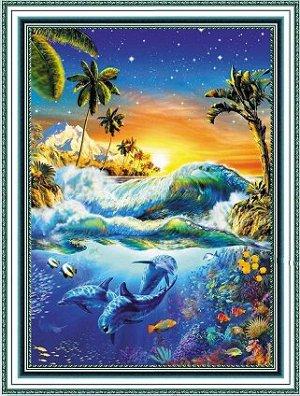 Алмазная живопись - мозаика Рассвет на Гавайях