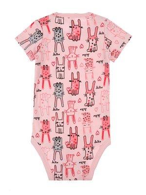 Боди Состав: 100% хлопок  Цвет: белый, светло-розовый, розовый  Год: 2021 *Боди для девочки с коротким рукавом, 3 шт. в сете *приятная на ощупь ткань из 100% плотного хлопка *кнопки на плече и для