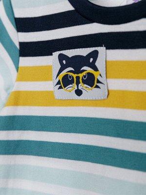 Комплект Состав: 95% хлопок, 5% эластан  Цвет: синий, белый, зеленый, жёлтый  Год: 2021 *Комплект: футболка, шорты *из качественного эластичного и приятного на ощупь трикотажа джерси *высокое содер