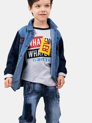 Рубашка Состав: Полочка- 100% хлопок, Спинка и рукава- 97% хлопок, 3% эластан Цвет: тёмно-синий, синий Год: 2021 Рубашка из денима с длинным рукавом PlayToday для мальчика – яркая деталь повседневного