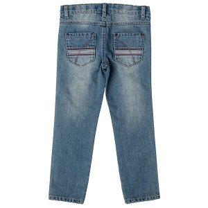 Джинсы Состав: 80% хлопок, 20% полиэстер  Цвет: голубой, красный  Год: 2021 Стильные эффектные брюки из джинсовой ткани с ярким принтом и эффектом потертости прекрасно подойдут для повседневной носки.