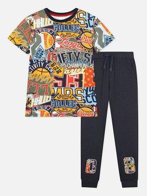 Комплект Состав: 95% хлопок, 5% эластан  Сезон: Весна, Лето  Цвет: темно-синий, мультиколор  Год: 2020 Комплект футболка и брюки из качественного эластичного и приятного на ощупь трикотажа • эластичны