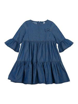 Платье Состав: 69% хлопок, 31% вискоза Цвет: синий  *Платье с воланами из лиоцелла *это легкая, летящая ткань, тактильно напоминающая шелк, с показателями гигроскопичности и воздухопроницаемости как