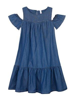 Платье Состав: 69% хлопок, 31% вискоза Цвет: синий  *Платье с воланами и открытой линией плеч *высокое содержание хлопка и лиоцелл. это легкая, летящая ткань, тактильно напоминающая шелк, с показате