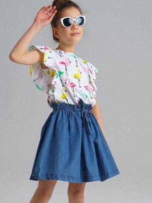 Платье Состав: Верх- 95% хлопок, 5% эластан, Юбка- 69% хлопок, 31% вискоза Цвет: синий, белый, разноцветный  *Платье с воланами *верх из джерси с высоким содержанием хлопка *благодаря наличию эласт