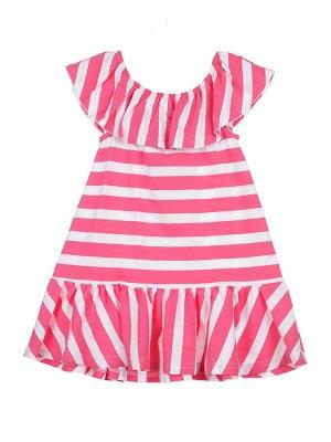Платье Состав: 95% хлопок, 5% эластан Цвет: розовый, белый  *Платье трикотажное с открытой линией плеч *высокое содержание хлопка 95% *благодаря наличию эластана в составе ткани изделие проще в ухо