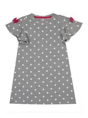 Платье Состав: 95% хлопок, 5% эластан Цвет: серый  *Платье трикотажное *высокое содержание хлопка 95% *благодаря наличию эластана в составе ткани изделие проще в уходе и держит форму *бантики по р