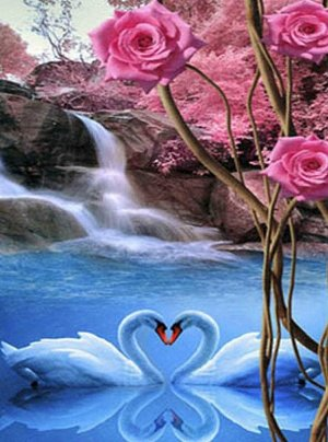 Алмазная живопись - мозаика Лебединая любовь