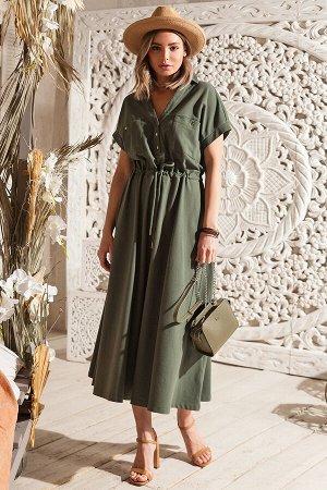 """Свободное платье """"сафари"""" из трикотажа пике, D42.198"""