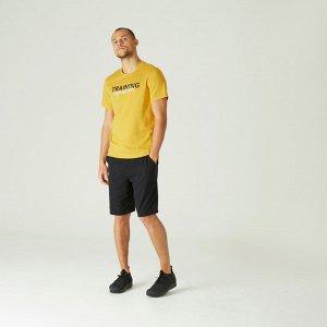 Футболка для фитнеса мужская хлопковая эластичная желтая с принтом NYAMBA