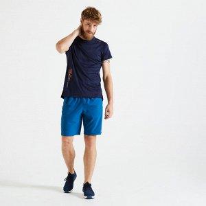 Футболка для фитнеса и кардиотренировок мужская FTS 120 темно-синяя DOMYOS