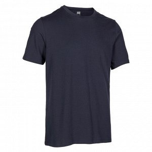Футболка для фитнеса мужская хлопковая эластичная 500 темно-синяя NYAMBA