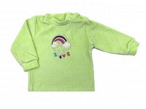 Рубашечка Велюр 100% хлопокВелюровая рубашечка из мягкой, приятной на ощупь тканис мягкой аппликацией, украшенастразами. Такая рубашечкаотлично себя зарекомендовалакак для детей с рождения, так