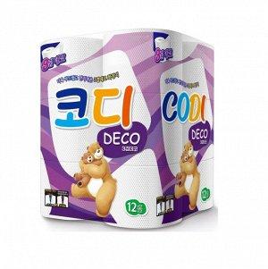"""Особомягкая туалетная бумага """"Codi Pure Deco"""" (трехслойная, с тиснёным рисунком) 27 м *12 рулонов / 3"""
