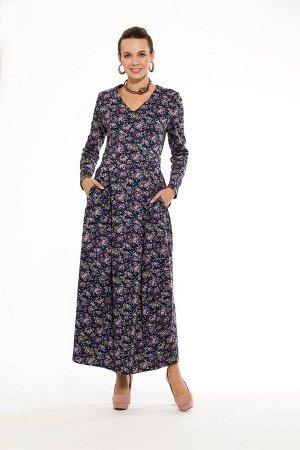 """Платье """"Звёздочка"""" (у-образный вырез) модель 761/2 синие цветочки"""