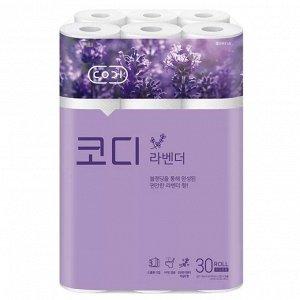 "Особомягкая туалетная бумага ""Codi  Lavender"" с ароматом лаванды (трехслойная, с тиснёным рисунком) 30 м *30 рулонов / 3"