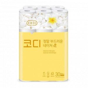 """Особомягкая туалетная бумага """"CODI-Amazingly Soft Nature"""" с увлажняющим лосьоном (трехслойная, с тиснением цветным рисунком) 30 м х 30 рулонов / 3"""