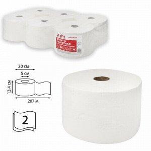Бумага туалетная с центральной вытяжкой 207 м, LAIMA (Система T8) PREMIUM, 2-слойная, белая, КОМПЛЕКТ 6 рулонов, 112514