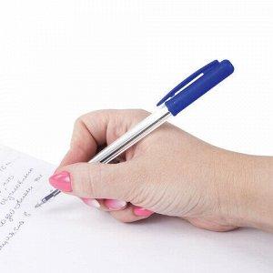 """Ручка шариковая автоматическая STAFF """"Basic"""", СИНЯЯ, корпус прозрачный, узел 0,8 мм, линия письма 0,4 мм, 141673"""
