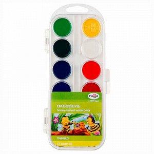"""Краски акварельные ГАММА """"Пчелка"""", 12 цветов, медовые, без кисти, пластиковая коробка, европодвес"""