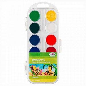 """Краски акварельные ГАММА """"Пчелка"""", 24 цвета, медовые, без кисти, пластиковая коробка, европодвес, 212035"""
