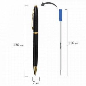 """Ручка подарочная шариковая BRAUBERG """"De Luxe Black"""", корпус черный, узел 1 мм, линия письма 0,7 мм, синяя, 141411"""